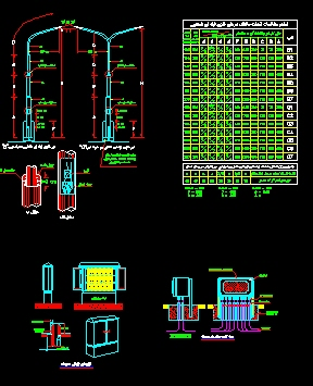 دانلود نقشه اتوکد جزییات ساخت و نصب پایه چراغها و تابلوهای بارانی و جعبه تقسیم چدنی در محوطه1